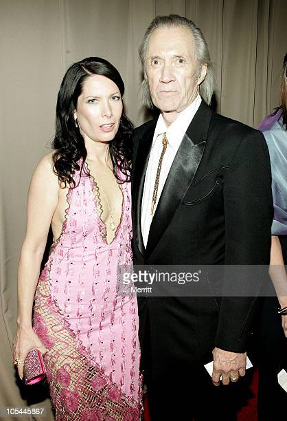 Annie Bierman and husband David Carradine during Glamour/Miramax Post Golden Globe Awards Party at Beverly Hills Hilton in Beverly Hills California...