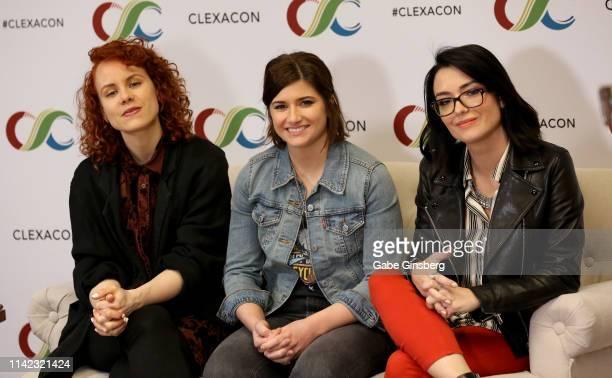 Annie Briggs Elise Bauman and Natasha Negovanlis attend the ClexaCon 2019 convention at the Tropicana Las Vegas on April 12 2019 in Las Vegas Nevada