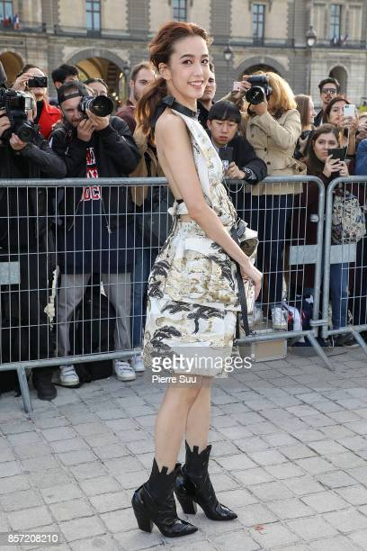 Annie Chen arrives at the Louis Vuitton show as part of the Paris Fashion Week Womenswear Spring/Summer 2018 on October 3 2017 in Paris France