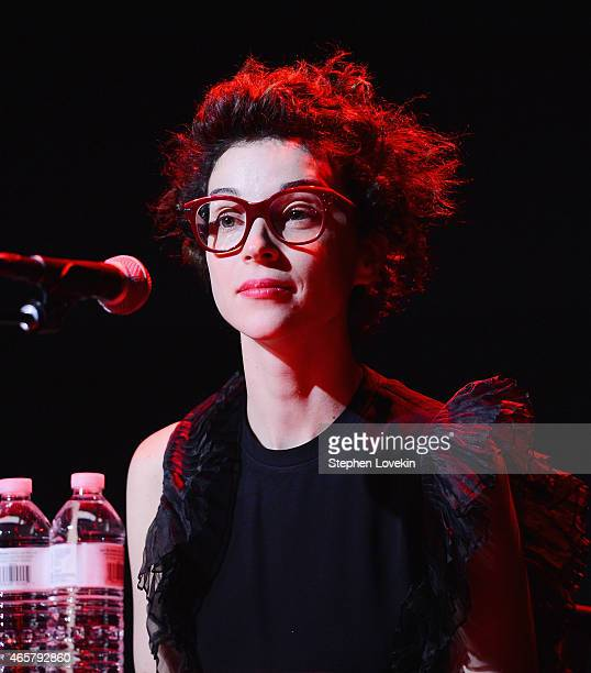 Annie Clark aka St Vincent attends The 2015 Record Store Day Press Conference at Rough Trade Records on March 10 2015 in the Brooklyn borough of New...