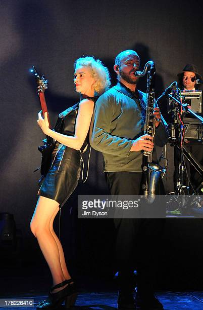 Annie Clark aka St Vincent performs live on stage with David Byrne at The Roundhouse on August 27 2013 in London England