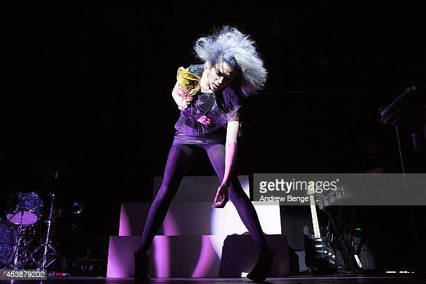 Annie Clark aka St Vincent performs on stage at Leeds Metropolitan University on August 20 2014 in Leeds United Kingdom