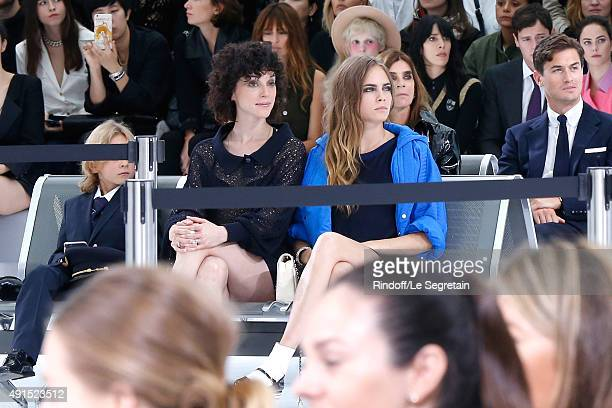 Annie Clark alias 'St Vincent' and Model Cara Delevingne attend the Chanel show as part of the Paris Fashion Week Womenswear Spring/Summer 2016 on...