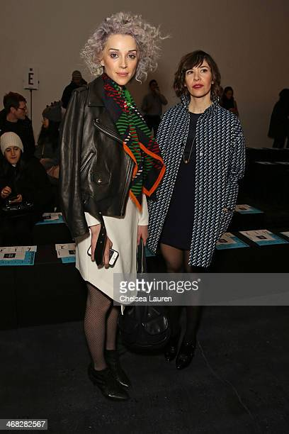 Annie Clark and Carrie Brownstein attend the Opening Ceremony fashion show on February 9 2014 in New York City