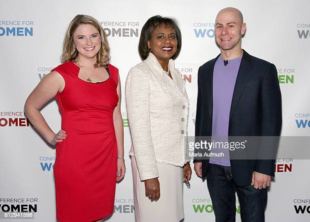 Annie Clark Anita Hill and Adam Grant attend the Pennsylvania Conference for Women 2016 at Pennsylvania Convention Center on October 6 2016 in...