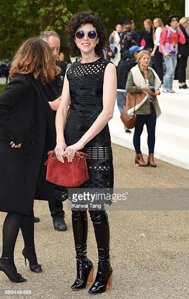 Annie Clark attends the Burberry Prorsum show during London Fashion Week Spring/Summer 2016/17 at Kensington Gardens on September 21 2015 in London...
