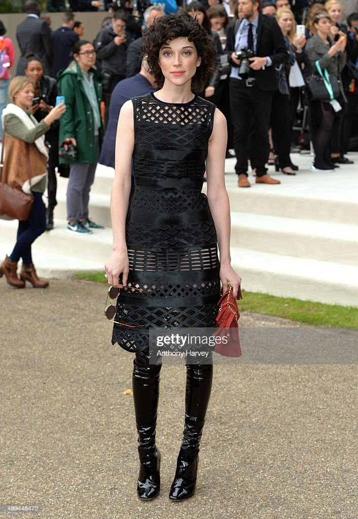 Annie Clark attends the Burberry Prorsum show during London Fashion Week Spring/Summer 2016/17 on September 21, 2015 in London, England.