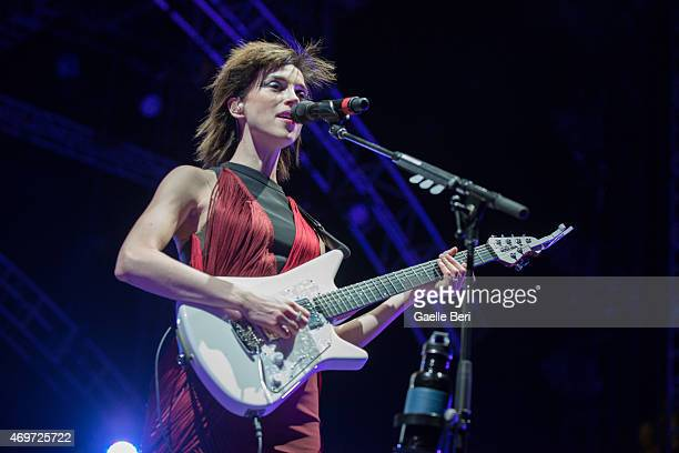 Annie Clark of St Vincent performs on stage at 2015 Coachella Valley Music and Arts Festival at The Empire Polo Club on April 12 2015 in Indio...