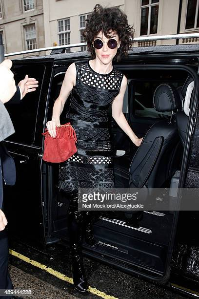 Annie Clark returns to Claridges Hotel after attending the Burberry Prorsum S/S16 catwalk show on September 21 2015 in London England
