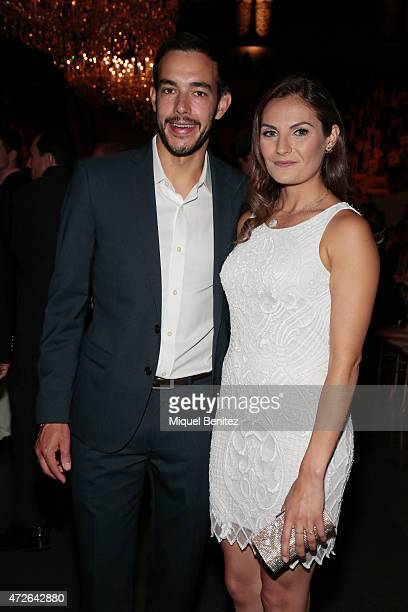 Annie Costner and Daniel Arthur Cox attend the Pronovias fashion show 2016 as part of the Barcelona Bridal Week at the Museu Nacional d'Art de...