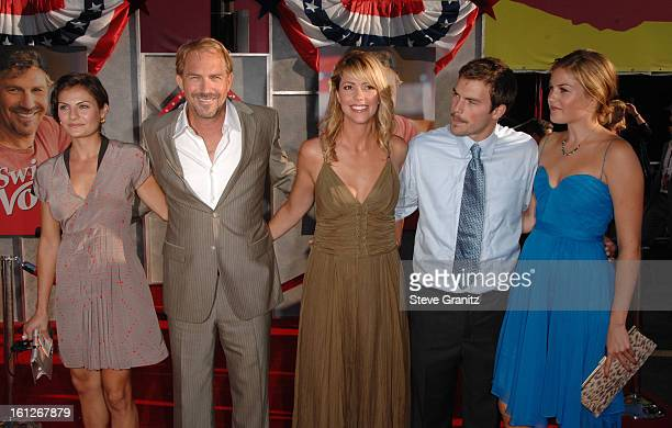 Annie Costner Kevin Costner Christine Baumgartner Joe Costner and Lily Costner arrive at the World Premiere of 'Swing Vote' at the El Capitan Theatre...