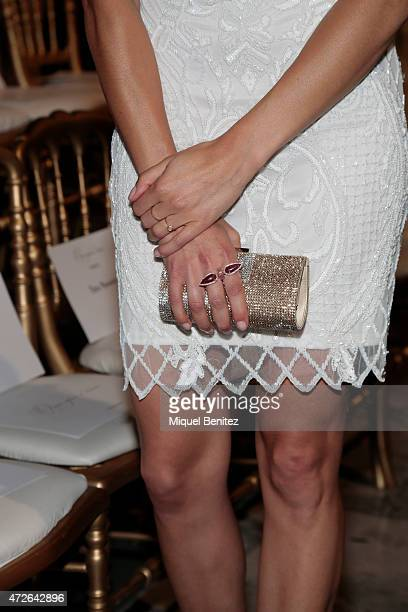 Annie Costner purse detail attends the Pronovias fashion show 2016 as part of the Barcelona Bridal Week at the Museu Nacional d'Art de Catalunya in...
