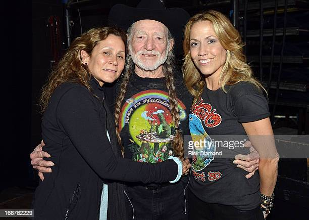 Annie D'Angelo Willie Nelson and Sheryl Crow backstage during Keith Urban's Fourth annual We're All For The Hall benefit concert at Bridgestone Arena...