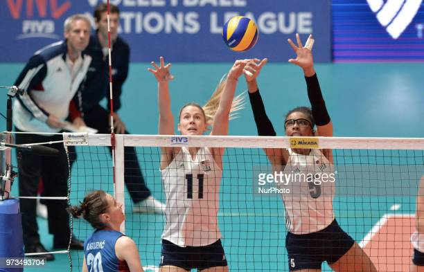 Annie Drews and Rachael Adams of USA in action during FIVB Volleyball Nations League on 12 June 2018 in Santa Fe Argentina The US Womens National...