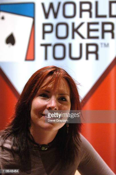 Annie Duke poses in front the WPT Logo in day two of the World Poker Tour's Doyle Brunson North American Poker Championship at the Bellagio Hotel in...