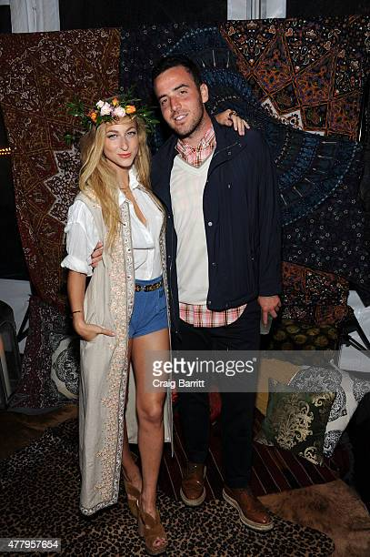 Annie Georgia Greenberg and Logan Horne attend the alice olivia by Stacey Bendet Montauk beach BBQ celebrating 10 years in the Hamptons on June 20...