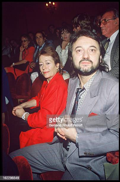 Annie Girardot and her friend Bob Decout at a party at Theatre des Bouffes Parisiens in 1986