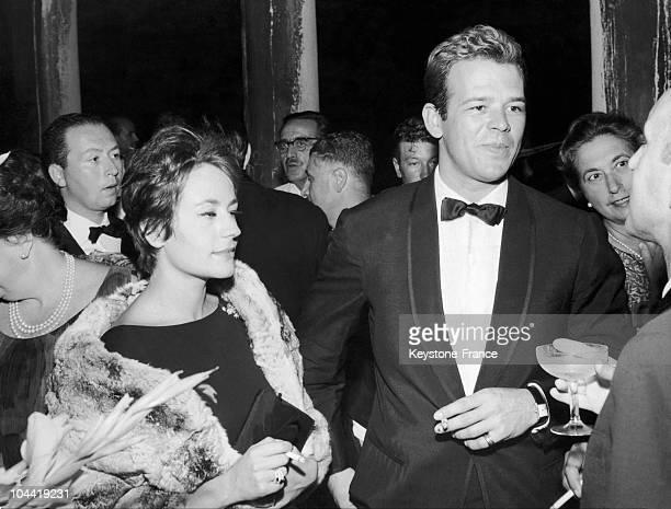 Annie Girardot And Renato Salvatori At The Venice Film Festival In 1962.