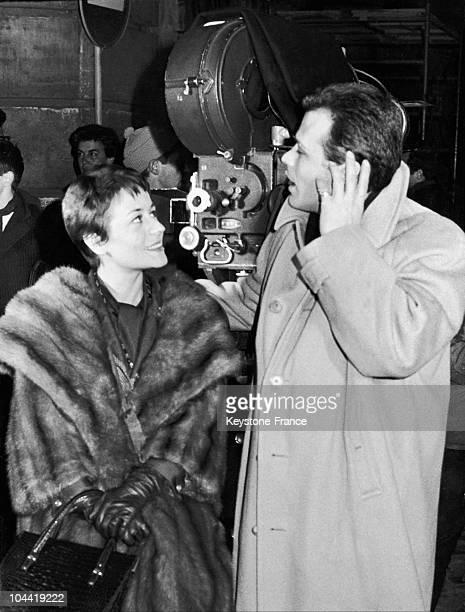 Annie Girardot And Renato Salvatori On The Shooting Of De Disordine In Rome In 1962.