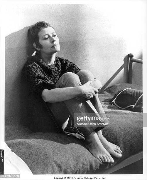 Annie Girardot contemplates on her prison bed in a scene from the film 'To Die of Love' aka 'Mouir d'aimer' 1972