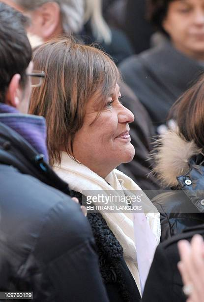 Annie Girardot's daughter Giulia Salvatori leaves the Paris Saint-Roch church after attending French actress Annie Girardot's funeral ceremony, on...