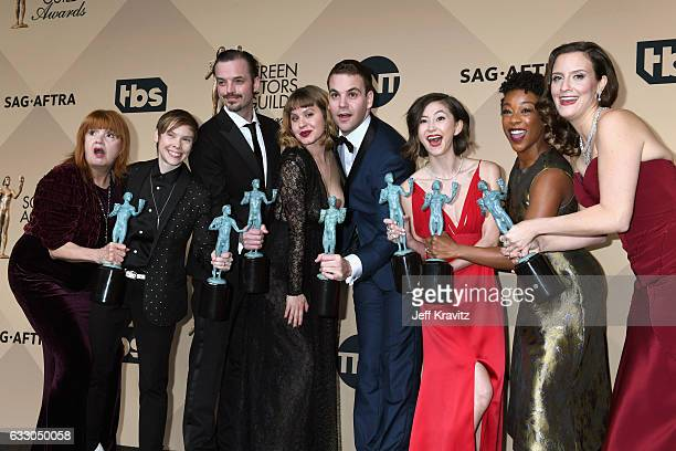 Annie Golden Abigail Savage James McMenamin Emily Althaus Alan Aisenberg Kimiko Glenn Samira Wiley and Julie Lake pose in the press room during the...