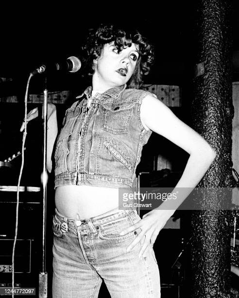 Annie Golden of US punk band The Shirts performs on stage at Dingwalls, London, England, in July, 1978.