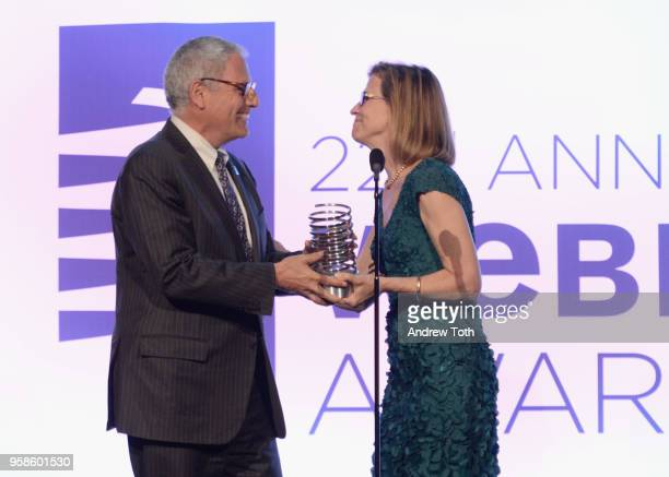 Annie Griffiths presents National Geographic CEO Gary Knell onstage at The 22nd Annual Webby Awards at Cipriani Wall Street on May 14 2018 in New...