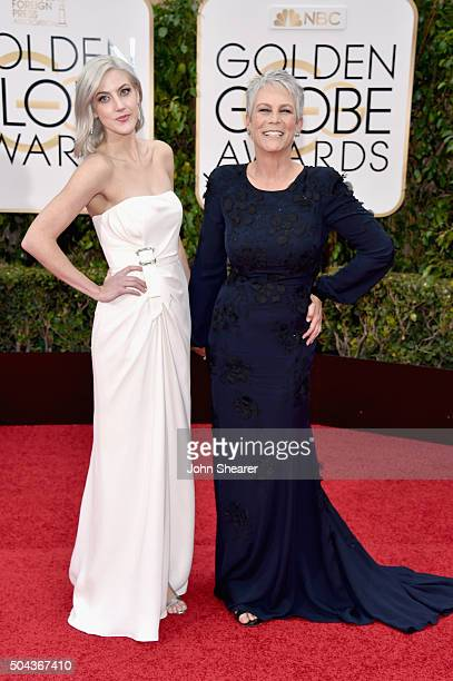 Annie Guest and actress Jamie Lee Curtis attend the 73rd Annual Golden Globe Awards held at the Beverly Hilton Hotel on January 10 2016 in Beverly...