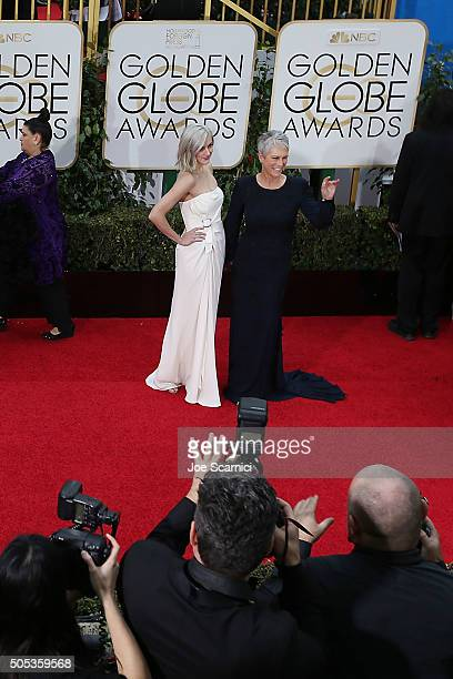 Annie Guest and Jamie Lee Curtis arrive at the 73rd Annual Golden Globe Awards held at The Beverly Hilton Hotel on January 10 2016 in Beverly Hills...