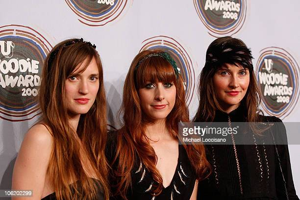Annie Hart Heather D'Angelo and Erika Forster of Au Revoir Simone attend the 2008 mtvU Woodie Awards at Roseland Ballroom on November 12 2008 in New...