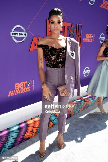 Annie Ilonzeh attends the 2018 BET Awards at Microsoft Theater on June 24 2018 in Los Angeles California