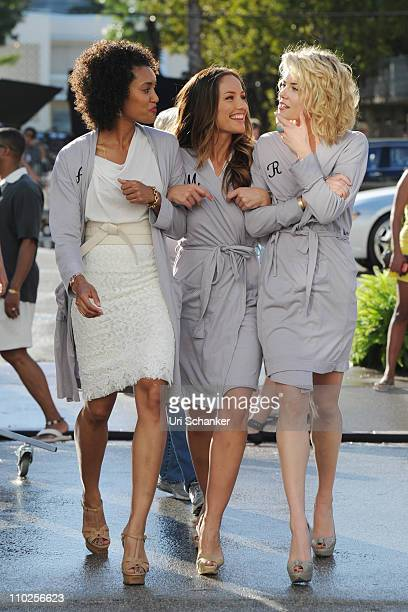 "Annie Ilonzeh, Minka Kelly and Rachael Taylor on the set of the television series ""Charlie's Angels"" on March 16, 2011 in Miami Beach, Florida."