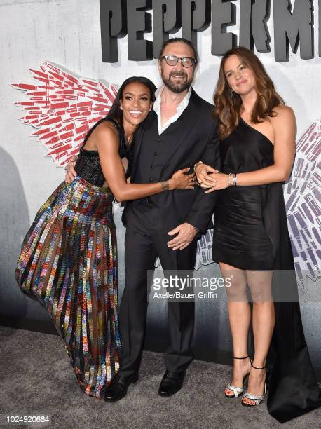 Annie Ilonzeh Pierre Morel and Jennifer Garner attend the premiere of STX Entertainment's 'Peppermint' at Regal Cinemas LA LIVE Stadium 14 on August...