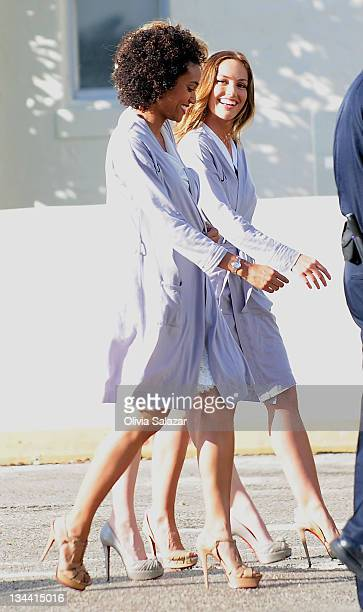 Annie IlonzehRachael Taylor and Minka Kelly on the set of 'Charlies Angels' TV series on March 16 2011 in Miami Beach Florida