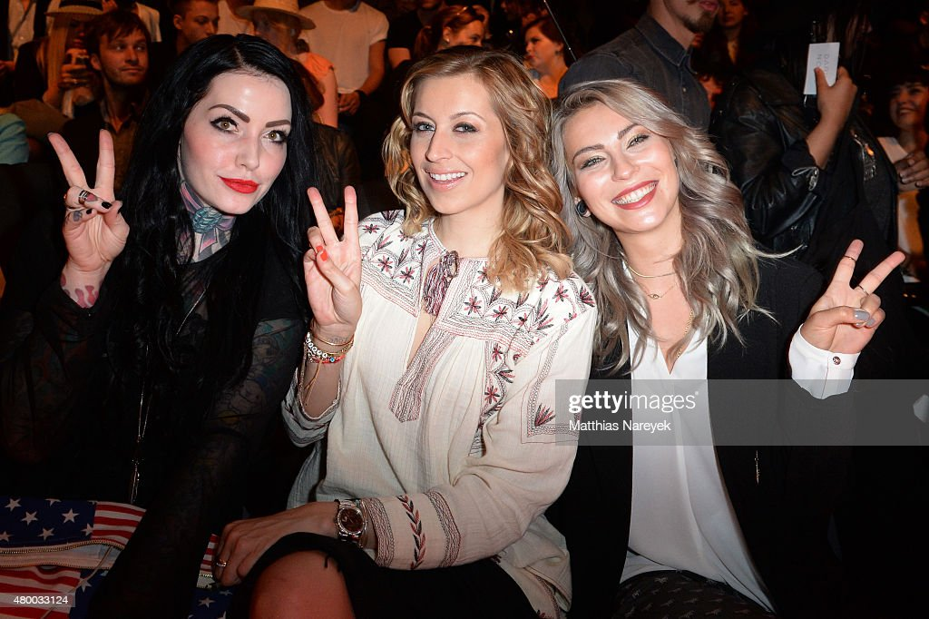 Annie Kaestner, Verena Kerth and a guest attend the Barre Noire presented by Mastercard show during the Mercedes-Benz Fashion Week Berlin Spring/Summer 2016 at Brandenburg Gate on July 9, 2015 in Berlin, Germany.