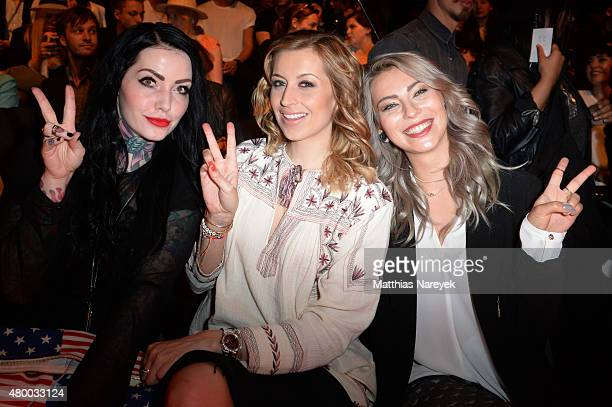 Annie Kaestner Verena Kerth and a guest attend the Barre Noire presented by Mastercard show during the MercedesBenz Fashion Week Berlin Spring/Summer...