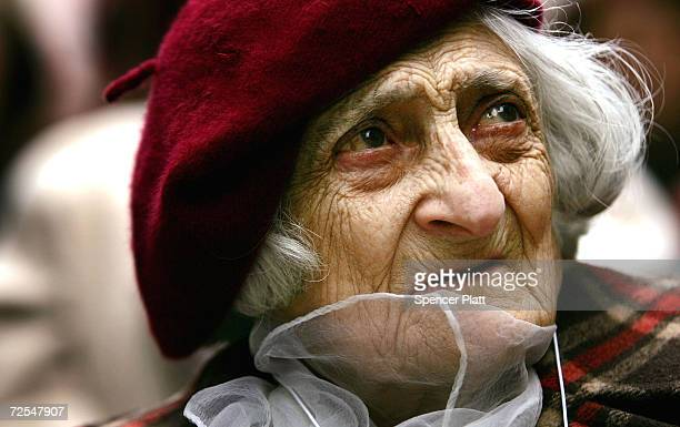 Annie Karakaian a survivor of mass killings of Armenians in what was then the Ottoman Empire in 1915 attends a rally in Times Square marking the 90th...