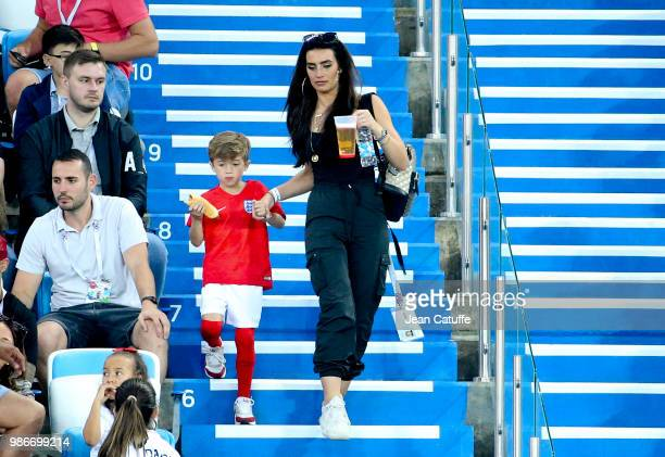 Annie Kilner, girlfriend of Kyle Walker of England and her son during the 2018 FIFA World Cup Russia group G match between England and Belgium at...