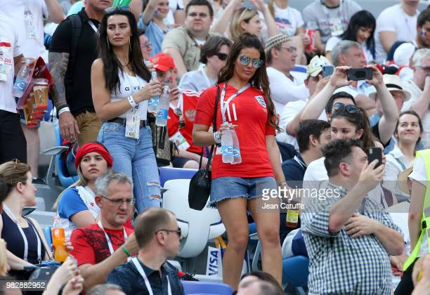 Annie Kilner girlfriend of Kyle Walker of England Rebekah Vardy wife of Jamie Vardy of England attend the 2018 FIFA World Cup Russia group G match...