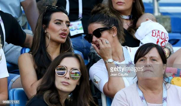 Annie Kilner girlfriend of Kyle Walker of England Rebekah Vardy wife of Jamie Vardy during the 2018 FIFA World Cup Russia group G match between...