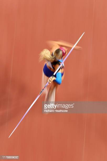 Annie Kunz of the United States competes in the Women's Heptathlon Javelin during day seven of 17th IAAF World Athletics Championships Doha 2019 at...