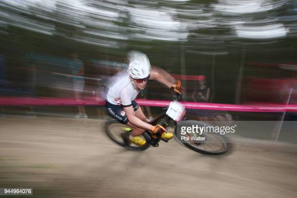 Annie Last of England competes during the Women's Crosscountry on day eight of the Gold Coast 2018 Commonwealth Games at Nerang Mountain Bike Trails...