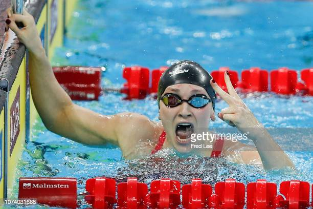 Annie Lazor of United States competes in the Women's 200m Breaststroke Final during 14th FINA World Swimming Championships Day 6 on December 16 2018...