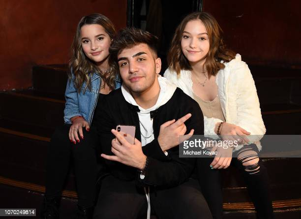 Annie LeBlanc Greg Marks and Jayden Bartels attend the Annie LeBling presents Annie LeBlanc Performance Pop Up Shop on December 8 2018 in Los Angeles...