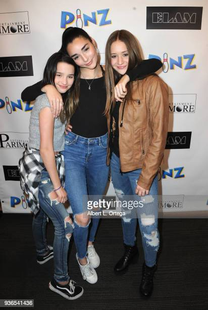 Annie LeBlanc Indiana Massara and Riley Lewis attend the Birthday Party For Elam Roberson held at Pinz Bowling on March 21 2018 in Los Angeles...
