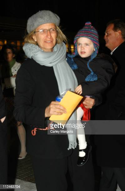 """Annie Leibovitz and guest during """"The Polar Express"""" New York Premiere at Ziegfeld Theater in New York City, New York, United States."""