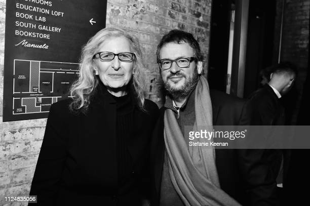 Annie Leibovitz and Iwan Wirth attend Hauser Wirth Los Angeles Opening of Annie Leibovitz and Piero Manzoni and Musical Performance by Patti Smith at...