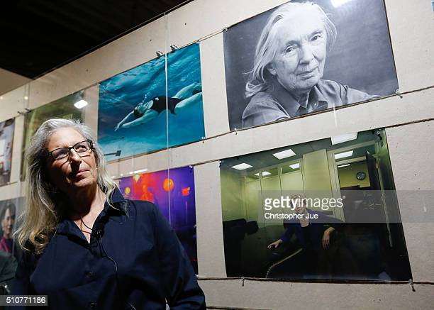 Annie Leibovitz attends a press conference for her exhibition 'WOMEN New Portraits' at TOLOT/heuristic SHINONOME on February 17 2016 in Tokyo Japan...