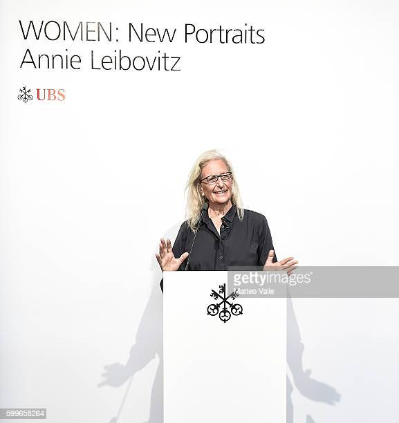 Annie Leibovitz attends the press conference of WOMEN New Portraits By Annie Leibovitz Commissioned By UBS on September 6 2016 in Milan Italy